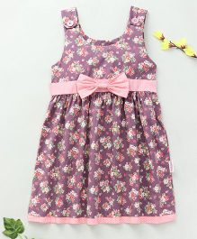 Little Fairy Floral Print Dress With Bow - Mauve