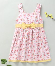Little Fairy Floral Print Dress With Bow - Peach