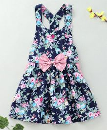 Little Fairy Floral Print Dress With Bow - Navy Blue