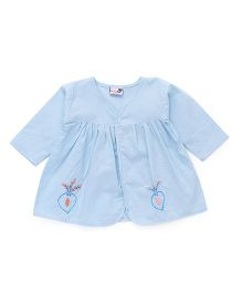 Needy Bee Leaf Embroidered Jhabla - Blue
