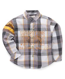 Kiddy Mall Full Sleeves Plaid Shirt - Grey & Orange