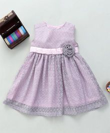 Bebe Wardrobe Sleeveless Dress With Net Flower Design - Grey & Pink
