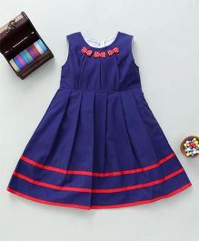 Bebe Wardrobe Sleeveless Dress With Small Bow Designs - Blue & Red