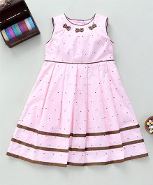 Bebe Wardrobe Dot Print Dress With Bow AppliquePink