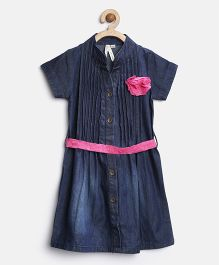 Stylestone Denim Dress With Belt & Brooch - Blue & Pink