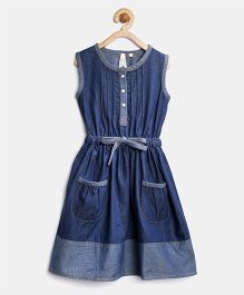 Stylestone Denim Dress With Bow - Blue