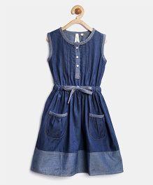Stylestone Denim Dress With Bow - Blue