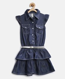 Stylestone Denim Princess Dress With Belt - Blue