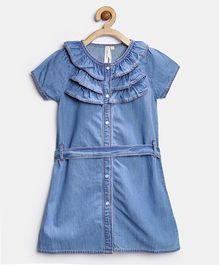 Stylestone Denim Ruffle Party Dress - Blue