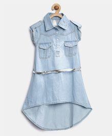 Stylestone Denim Hi Lo Dress With Belt - Blue