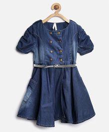 Stylestone Denim Puff Sleeve Flared Dress - Blue