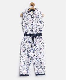 Stylestone Butterfly Print Jumpsuit - Blue