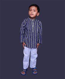 Pikaboo Full Sleeves Ethnic Stripes Kurta And Pajama - Blue White