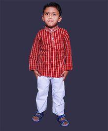 Pikaboo Full Sleeves Ethnic Checks Print Kurta And Pajama - Red White
