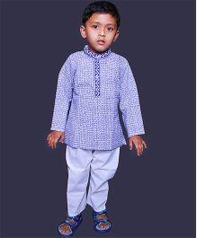 Pikaboo Full Sleeves Ethnic Checks Print Kurta And Pajama - Blue White