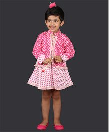 Pikaboo Sleeveless Frock With Jacket Paisley Print - Pink White