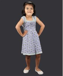Pikaboo Sleeveless Frock With Jacket Big Paisley Print - Blue White