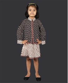 Pikaboo Sleeveless Frock With Jacket - Red Black Off White