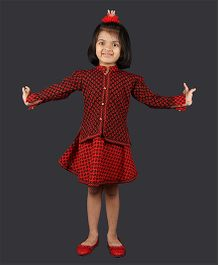 Pikaboo Sleeveless Frock With Jacket - Red Black