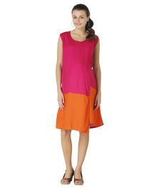 Morph Sleeveless Maternity Dress - Orange Pink