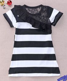 Superfie Stripe Print Dress - White & Black