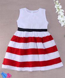 Superfie Stripe Print Dress - White & Red