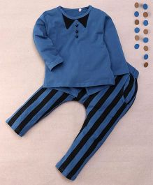 Superfie Stripe Printed T-Shirt & Pant Set - Blue