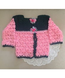 Buttercup from KnittingNani Side Button Full Sleeve Sweater - Pink & Grey