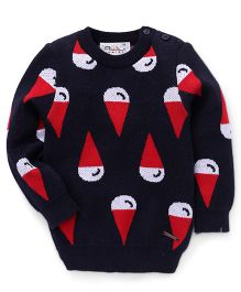 RVK Ice Cream Cone Design Sweater - Black