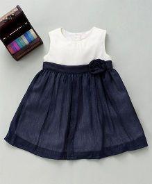 Bebe Wardrobe Sleeveless Dress With Flower Applique - Cream & Dark Blue