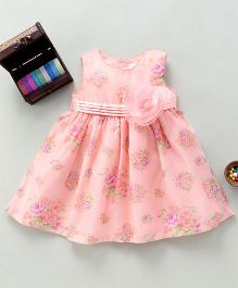 Bebe Wardrobe Floral Print Dress With Rose Applique - Peach