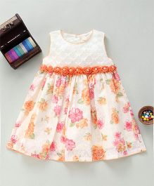 Bebe Wardrobe Floral Print Dress With Rose Applique - Peach & Cream