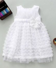 Bebe Wardrobe Party Wear Dress With Bow Design - White