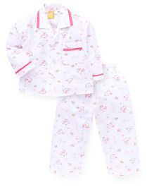 Yellow Duck Full Sleeves Printed Night Suit -  White Pink