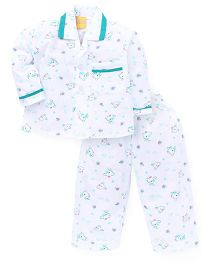 Yellow Duck Full Sleeves Printed Night Suit -  White Green