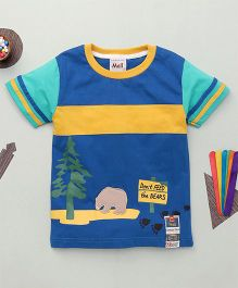 Kiddy Mall Dont Feed The Bears Print T-Shirt  - Blue