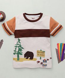 Kiddy Mall Dont Feed The Bears Print T-Shirt  - Brown