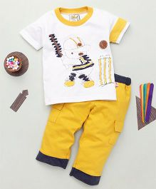 Kiddy Mall Cartoon Print T-Shirt  & Pant Set - White & Yellow