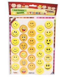 Sticker Bazaar Smiley A4 Foam Stickers - Multi Color