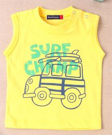Great Babies Surf Champ Print T-Shirt With Snap Buttons - Yellow