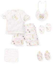 Mee Mee Clothing Gift Set Dino Design Pack Of 8 - Cream