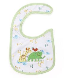 Mee Mee Baby Bib Elephant Embroidery - White Dark Green