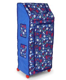 Lovely Multi Purpose Almirah With Wheels Panda Print - Blue