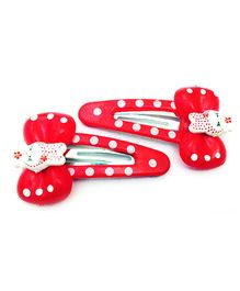Akinos Kids Teddy Bow Polka Dot Snap Clip - Red