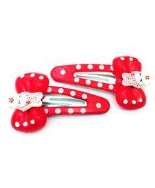 Akinos Kids Teddy Bow Polka Dot Snap Clip - Red