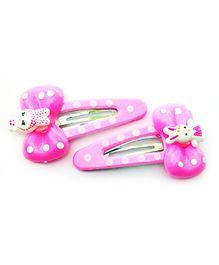Akinos Kids Teddy Bow Polka Dot Snap Clip - Light Pink