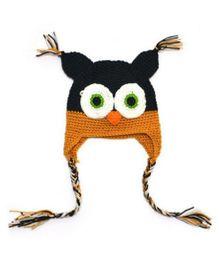 Princess Cart Owl Cap With Ear Flap - Black & Yellow