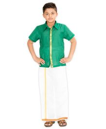 Kutti Baba Stylish Shirt And Lungi Set - Green & Off White