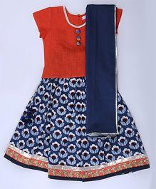 Amber Jaipur Lehenga With Top & Dupatta Set Of 3 - Indigo Blue & Orange