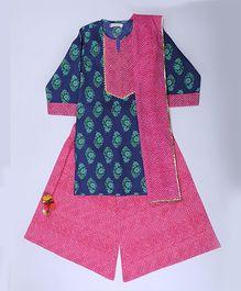 Amber Jaipur Kurti With Palazzo & Dupatta Set - Pink Blue & Green
